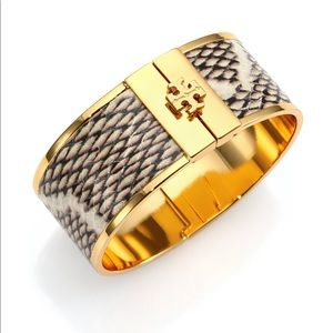 Tory Burch Snake Embossed Leather Inlay Cuff